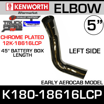 "Kenworth Aero LEFT Side Chrome Elbow 45"" Battery Box K180-18616CP"