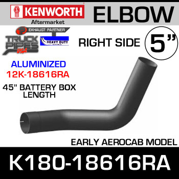 "Kenworth Aero RIGHT Side Aluminized Elbow 45"" Battery Box K180-18616R"