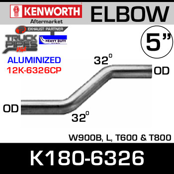 Kenworth W900B, T600, T800 32 Degree Double Bend Chrome Elbow K180-6326