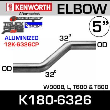Kenworth W900B, T600, T800 32 Degree Double Bend Chrome Elbow K180-6326
