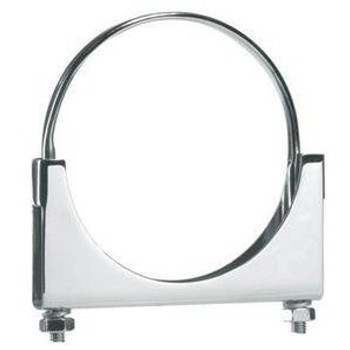 "6"" Round Bolt Double Saddle Chrome Exhaust Clamp"
