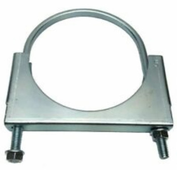 "5"" Double Saddle Clamp with Round U-Bolt Chrome"