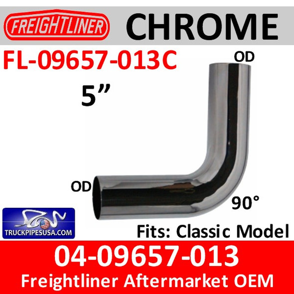 04-09657-013 Freightliner 90 Degree Elbow CHROME FL-09657-013C