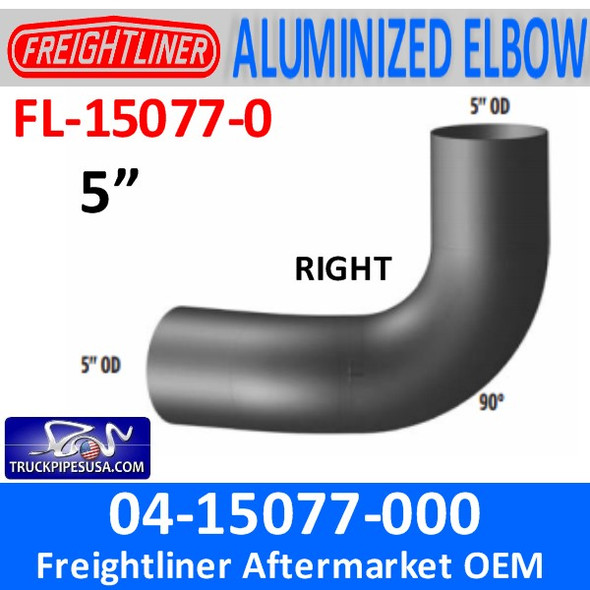 04-15077-000 Freightliner 90 Degree Elbow Right ALUMINIZED FL-15077-0