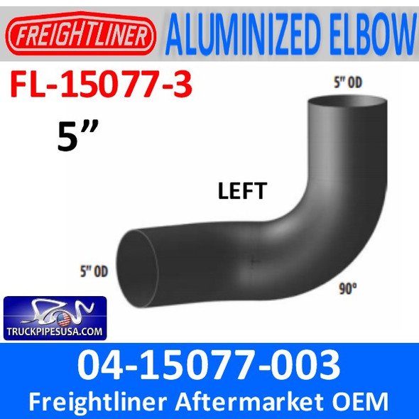 04-15077-003 Freightliner 90 Degree Elbow Left ALUMINIZED FL-15077-3