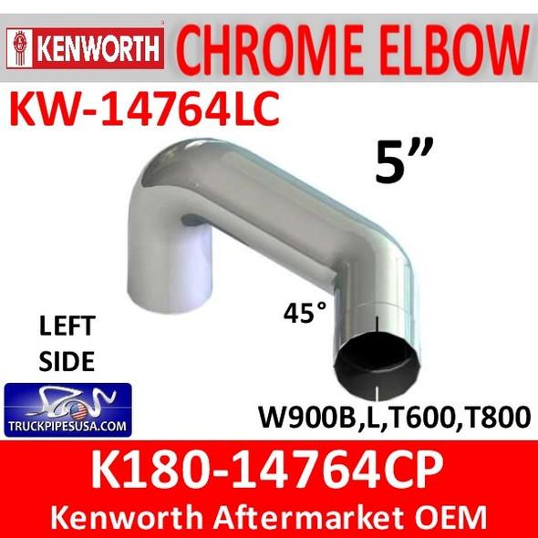 "K180-14764CP Kenworth 5"" Left Exhaust Elbow CHROME KW-14764LC"