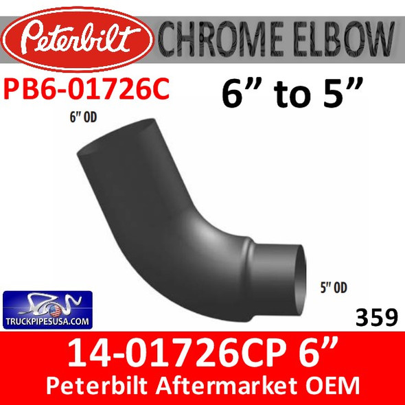 "14-01726 6"" to 5"" Peterbilt 379 CHROME Elbow PB6-01726C"