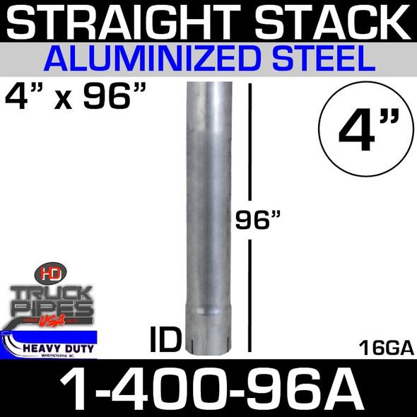 "4"" x 96"" Stack Pipe ID End - Aluminized Square Cut 1-400-96A"
