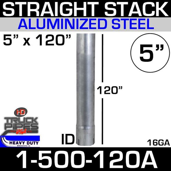 "5"" x 120"" Stack Pipe ID End - Aluminized Square Cut 1-500-120A"