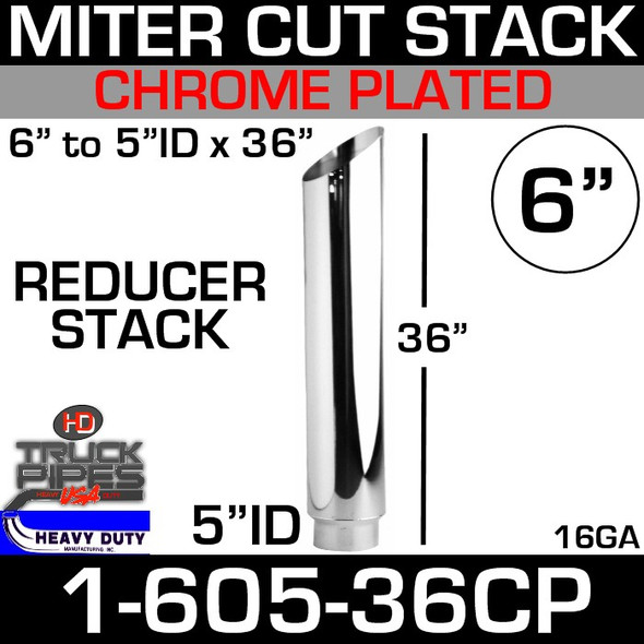 """6"""" to 5"""" x 36"""" Stack Pipe ID End - Chrome  Angle Cut 1-605-36CP"""