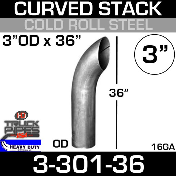 "3"" x 36"" Curved Stack Pipe OD End - Steel 3-301-36"