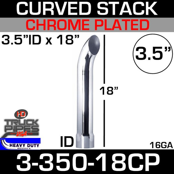 "3.5"" x 18"" Curved Stack Pipe ID End - Chrome 3-350-18CP"