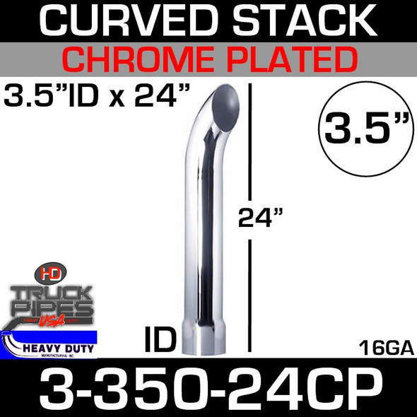 "3.5"" x 24"" Curved Stack Pipe ID End - Chrome 3-350-24CP"