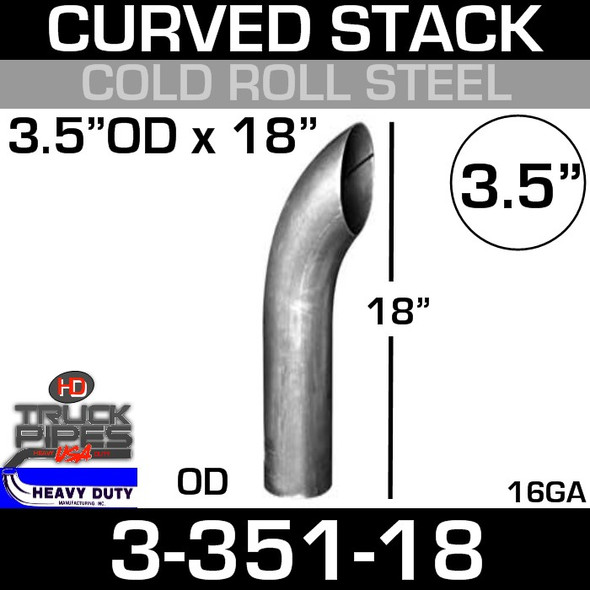 """3.5"""" x 18"""" Curved Stack Pipe OD End - Steel 3-351-18"""
