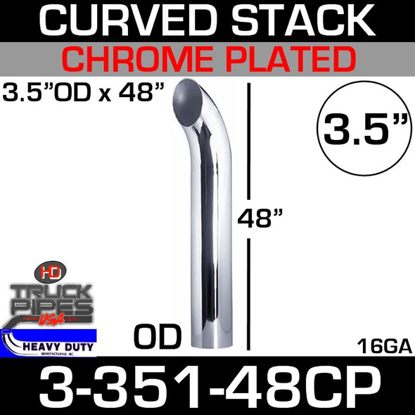"3.5"" x 48"" Curved Stack Pipe OD End - Chrome 3-351-48CP"