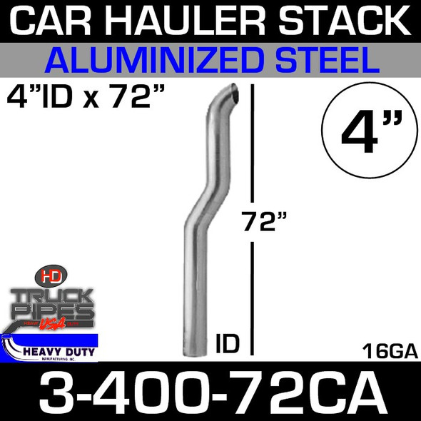 "4"" x 72"" Car Hauler Stack ID End - Aluminized 3-400-72CA"