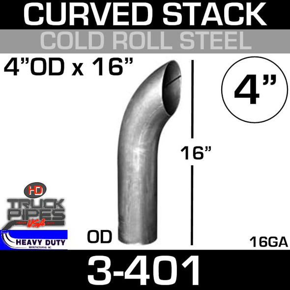 "4"" x 16"" Curved Stack Pipe OD End - Steel 3-401"