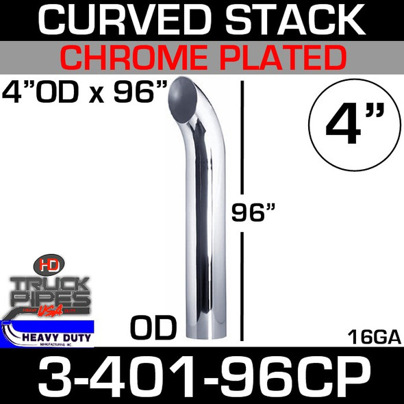 "4"" x 96"" Curved Stack Pipe OD End - Chrome 3-401-96CP"