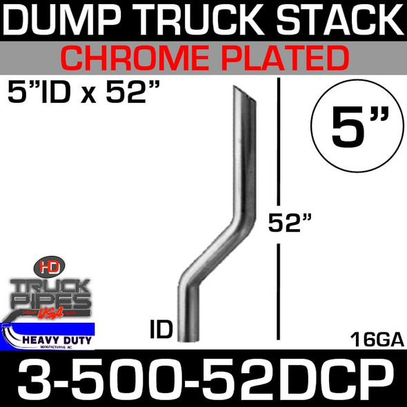 "5"" x 52"" Dump Truck Stack ID End - Chrome 3-500-52DCP"