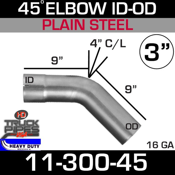 "45 Degree Exhaust Elbow 3"" x 9"" ID-OD Steel 11-300-45"