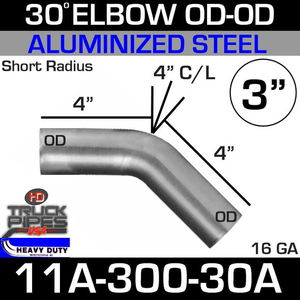 "30 Degree Short Radius Exhaust Elbow 3"" x 4"" Legs OD-OD ALZ 11A-300-30A"
