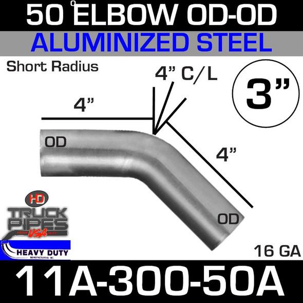 "50 Degree Short Radius Exhaust Elbow 3"" x 4"" Legs OD-OD ALZ 11A-300-50A"