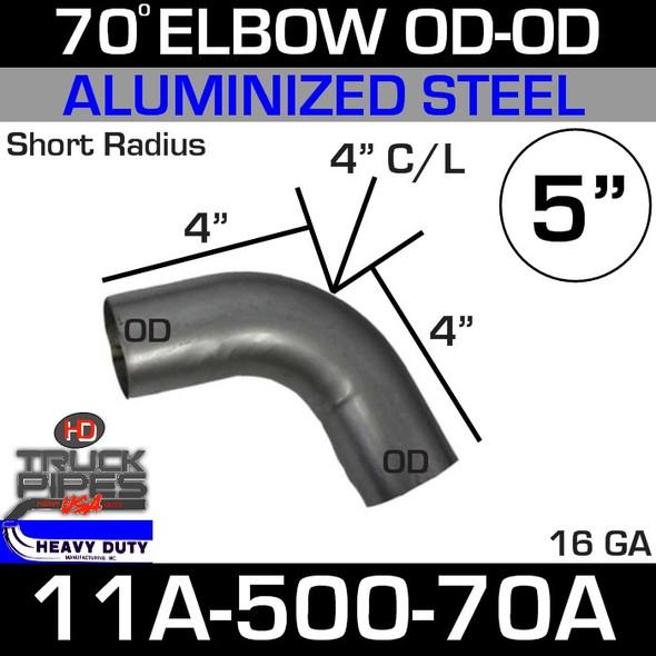 "70 Degree Short Radius Exhaust Elbow 5"" x 4"" Legs OD-OD ALZ 11A-500-70A"