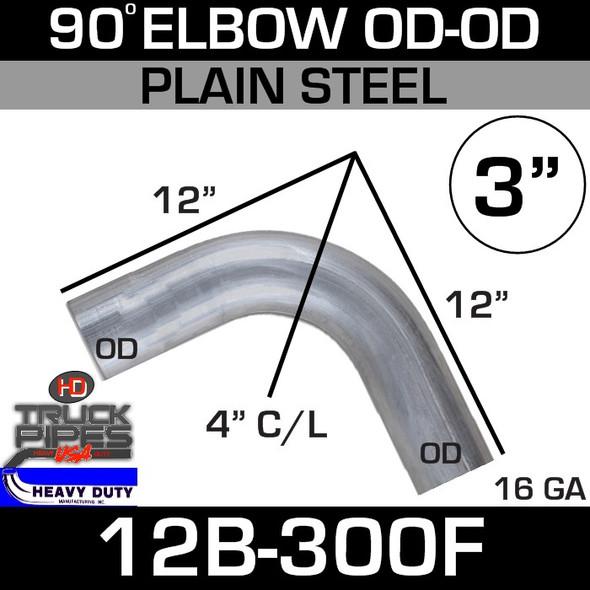 "90 Degree Exhaust Elbow 3"" x 12"" OD-OD Steel 12B-300F"