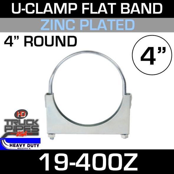 "4"" U-Clamp Flat Band Zinc 19-400Z"