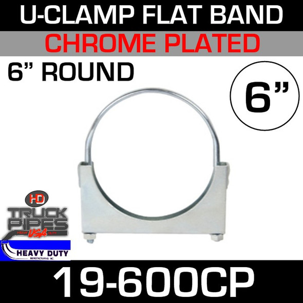 "6"" U-Clamp Flat Band Chrome 19-600CP"