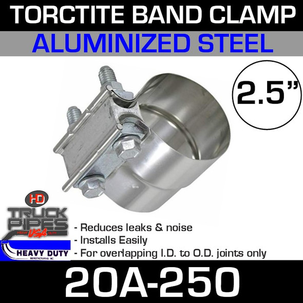 "2.5"" Band Clamp - Aluminized Preformed TorcTite 20A-250"