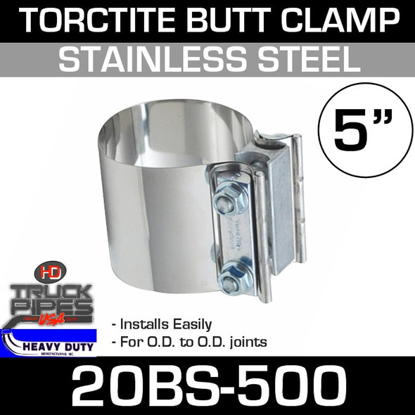 "5"" Band Clamp - Stainless Steel Preformed Butt Joint 20BS-500"