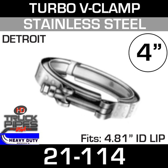 """Turbo V-Clamp for Detroit 12V71-6.71 with 4.49"""" ID 21-114"""