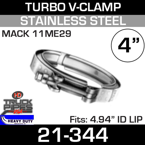 """Turbo V-Clamp for Mack 11ME29 with 4.94"""" ID 21-344"""