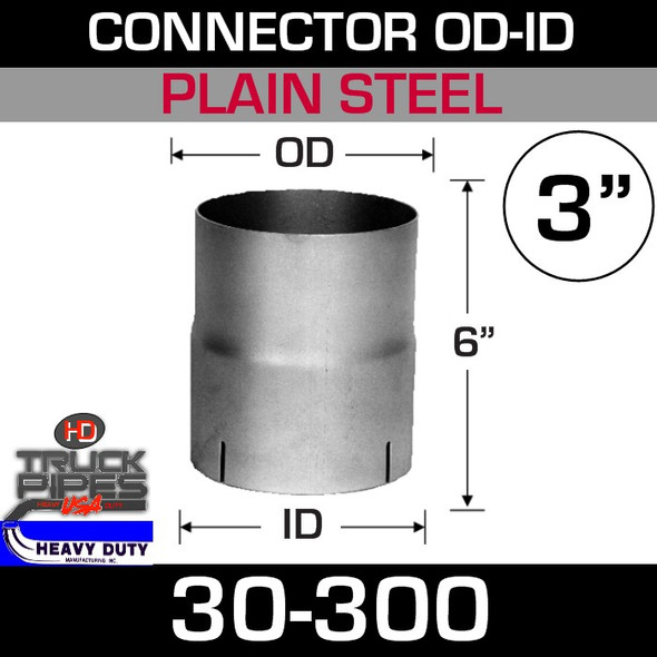 "3"" Exhaust Connector ID-OD Steel 6"" Tall 30-300"
