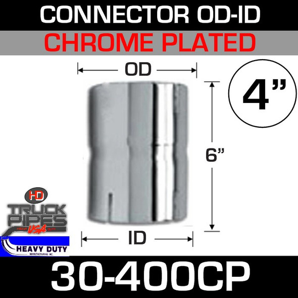 "4"" Exhaust Connector ID-OD Chrome 6"" Tall 30-400CP"