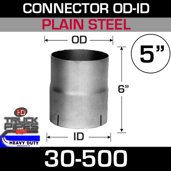 """5"""" Exhaust Connector ID-OD Steel 6"""" Tall 30-500"""