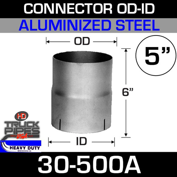 "5"" Exhaust Connector ID-OD Aluminized 6"" Tall 30-500A"