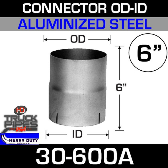 "6"" Exhaust Connector ID-OD Aluminized 5"" Tall 30-600A"