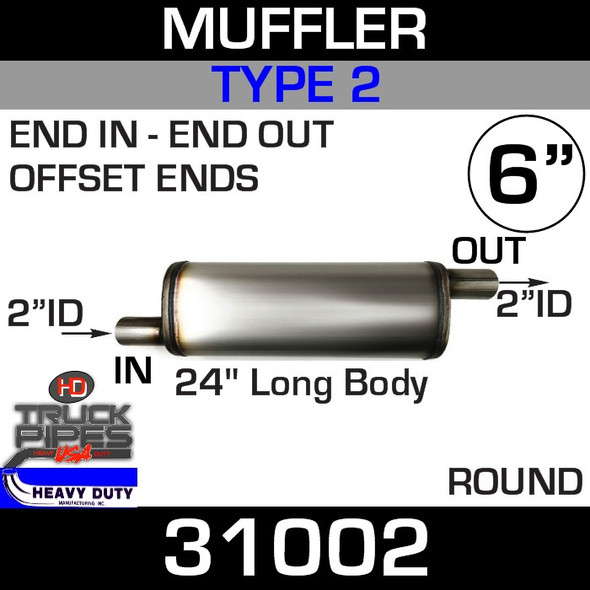 """Type 2 Muffler 6"""" Round - 24"""" x 2"""" ID Inlet-Outlet 31002"""