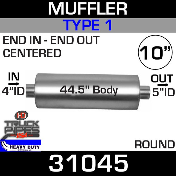 """Type 1 Muffler 10.08"""" Round - 44.5"""" x 4"""" IN- 5"""" OUT 31045"""