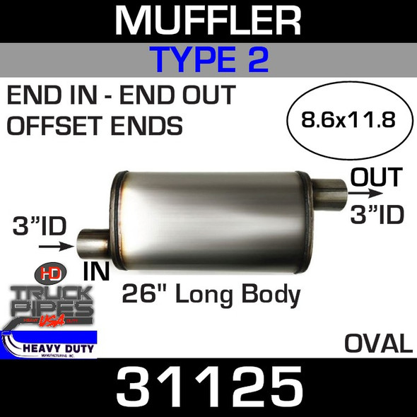 """Type 2 Muffler 8.6"""" x 11.8"""" Oval - 26"""" x 3"""" IN-OUT 31125"""