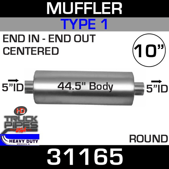 """Type 1 Muffler 10.08"""" Round - 44.5"""" x 5"""" IN-OUT 31165"""