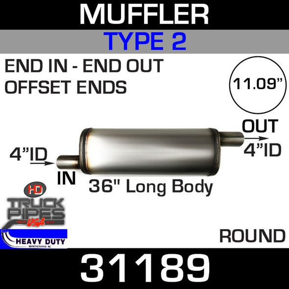 """Type 2 Muffler 11.09"""" Round - 36"""" x 4"""" IN-OUT 31189"""