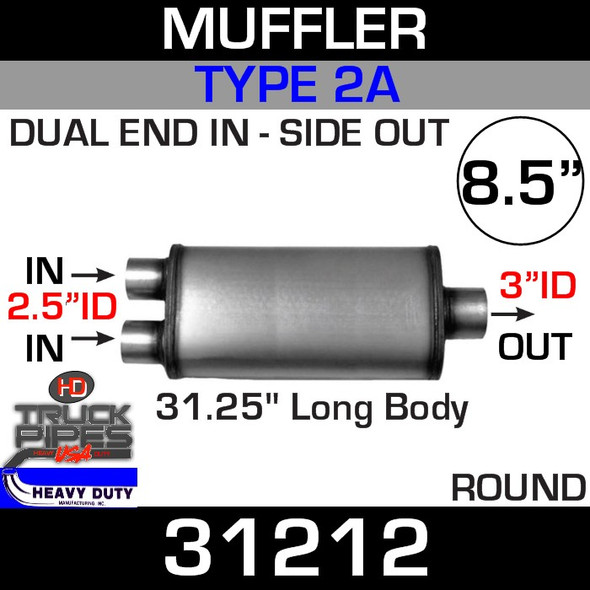 """Type 2A Muffler 8.5"""" Round - 31.25 x 2.5"""" Dual IN x 3"""" OUT 31212"""