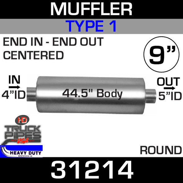 """Type 1 Muffler 9"""" Round - 44.5"""" x 4"""" IN - 5"""" OUT 31214"""