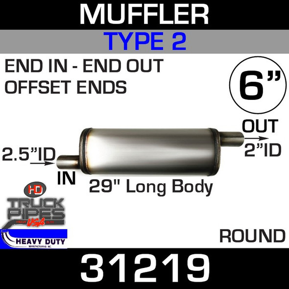 """Type 2 Muffler 6"""" Round - 29"""" x 2.5"""" IN-2""""OUT 31219"""
