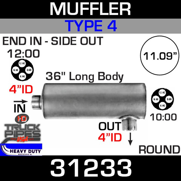 "Type 4 Muffler 11.09"" Round - 36"" x 4"" IN-OUT 31233"