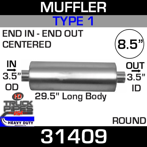 """Type 1 Muffler 8.5"""" Round - 29.5"""" x 3.5""""OD IN- 3.5"""" ID OUT FG26409N UPS"""