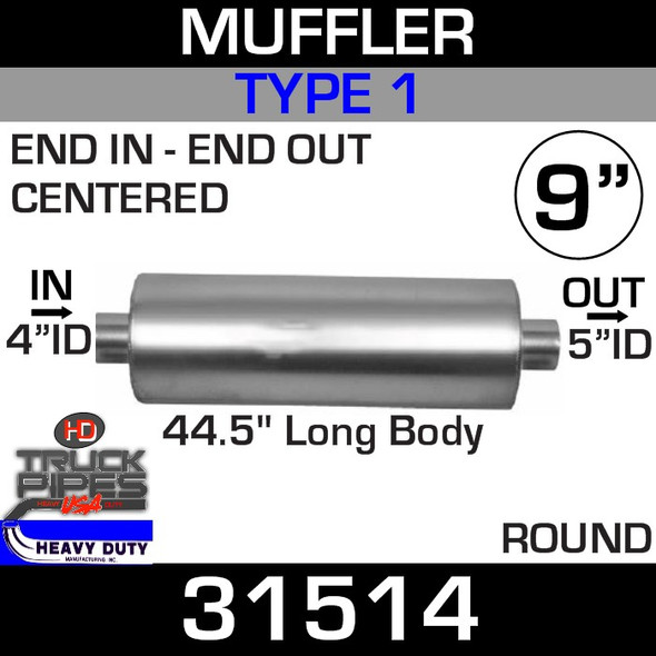 """Type 1 Muffler 9"""" Round - 44.5"""" x 4"""" IN - 5"""" OUT 31514"""